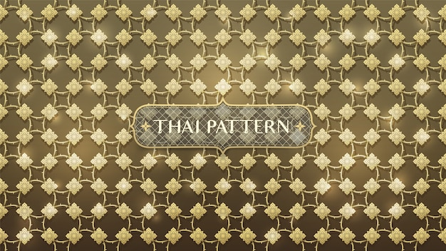 Abstract connecting gold thai pattern