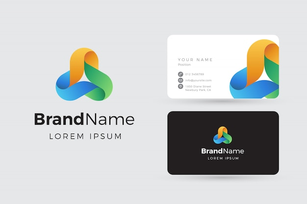 Abstract connection logo and business cards