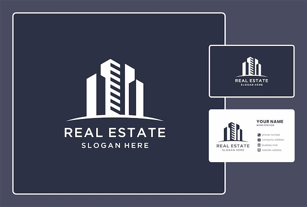 Abstract construction logo and business card design.