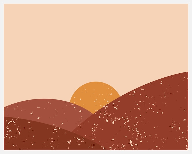 abstract contemporary aesthetic background with landscape, desert, sun.
