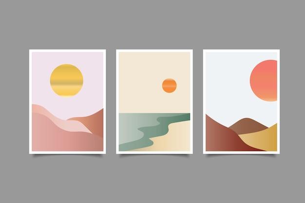 抽象的な現代的な美的背景の風景現代のミニマリストの風景