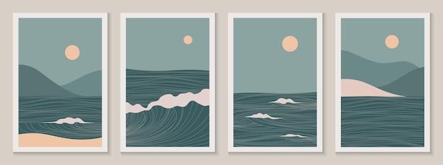 Абстрактные современные эстетические пейзажи с солнцем, морем, волнами, горами. современный минималистский штриховой рисунок середины века. фоны в ретро азиатском японском стиле. векторные иллюстрации