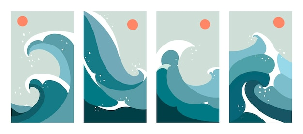 Abstract contemporary aesthetic set of mid century landscapes with sun and ocean waves. boho trend line art. flat minimalist design.