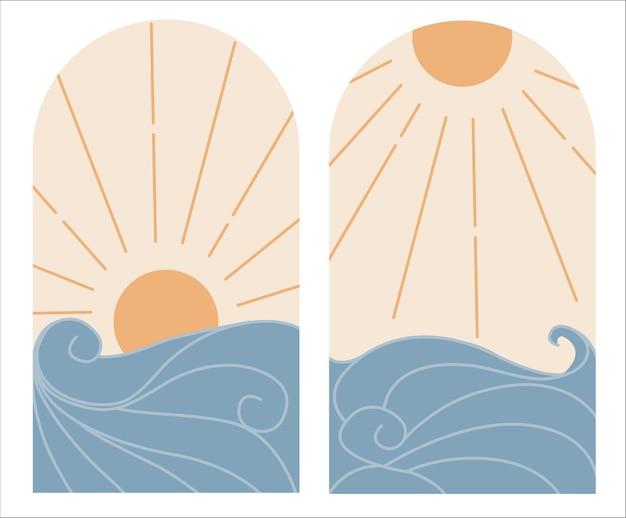 抽象的な現代的な美学 日没と日の出と波のあるミッドセンチュリーの風景のセット。自由奔放に生きる壁の装飾 フラットなミニマリスト デザイン