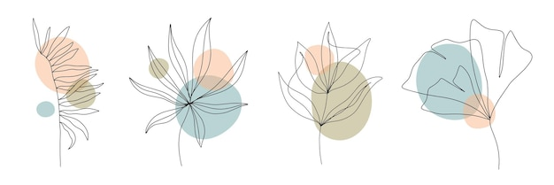 Abstract contemporary geometric shapes, leafand flower in a modern trendy style