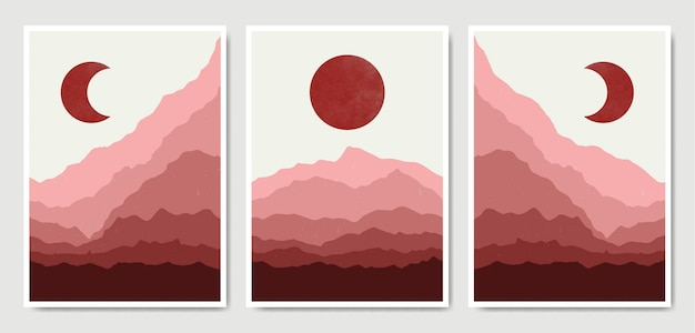 Abstract contemporary landscape boho poster template collection.