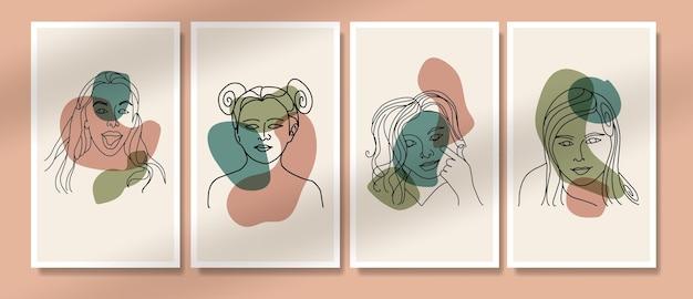 抽象的な現代的なミッドセンチュリー現代の顔の線画の肖像画自由奔放に生きるポスターテンプレートコレクション