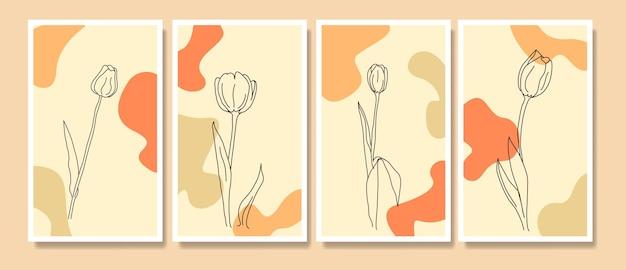 Абстрактные современные середины века современные цветочные тюльпаны штриховая графика бохо плакат шаблон