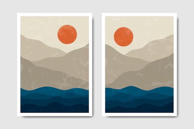 抽象現代ミッドセンチュリー現代風景自由奔放に生きるポスターカバーテンプレート。