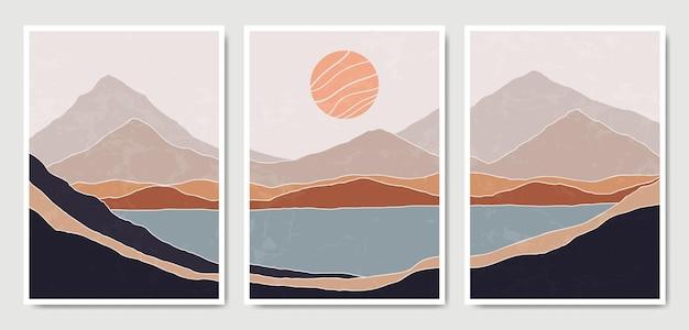 抽象現代ミッドセンチュリー現代風景自由奔放に生きるポスターテンプレートコレクション。