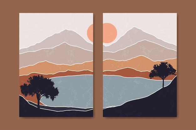 추상 현대 중반 세기 현대 풍경 boho 포스터 템플릿.
