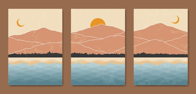 Abstract contemporary mid century modern landscape boho poster template.