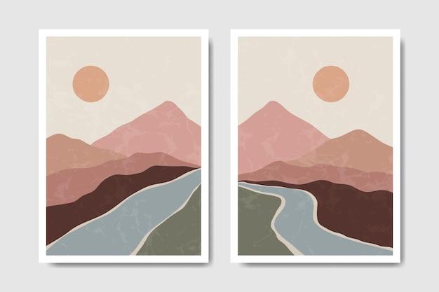 추상 현대 중반 세기 현대 풍경 boho 포스터