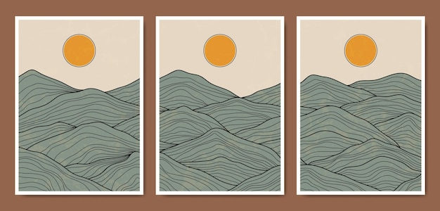 추상 현대 중반 세기 현대 풍경 선 boho 포스터 템플릿.
