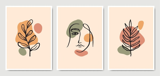Abstract contemporary mid century modern leaves face line art portraits boho poster template collection.