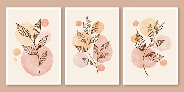 Абстрактные современные середины века современные листья линии искусства рисованной бохо плакат