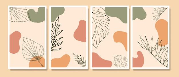 Абстрактные современные середины века современные тропические листья линии искусства портреты бохо набор шаблонов плакатов