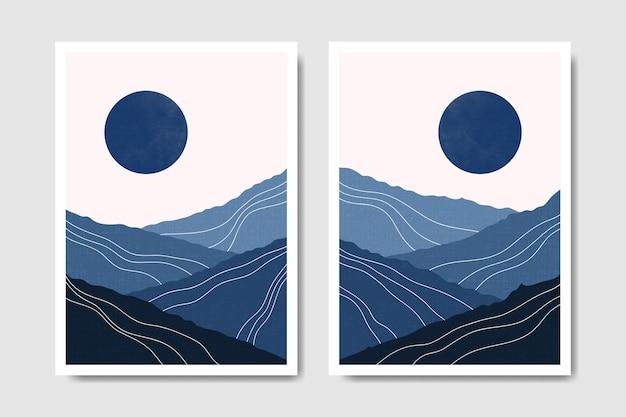 추상 현대 중반 세기 현대 겨울 풍경 boho 포스터