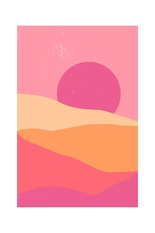 Abstract contemporary mountain landscape or desert at sunset.