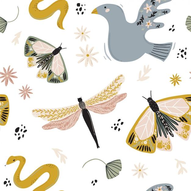 花、動物、月、女の子の力の要素を持つ抽象的な現代的なシームレスパターン。北欧スタイル、ボヘミアン魔女、魔法の謎の概念でトレンディなミニマリストのイラスト。