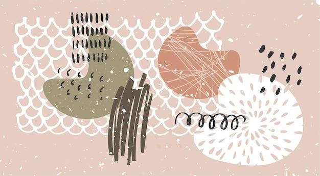 ニュートラルな色の手描きの要素と有機的な形の抽象的な現代的な壁の芸術