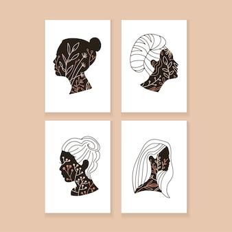 Набор абстрактных плакатов непрерывной линии. модные шаблоны с женскими головками и растениями