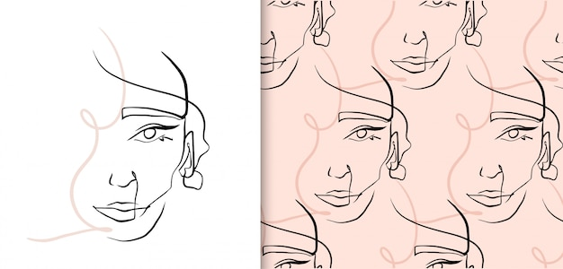 Abstract continuous line woman face, seamless pattern collection.