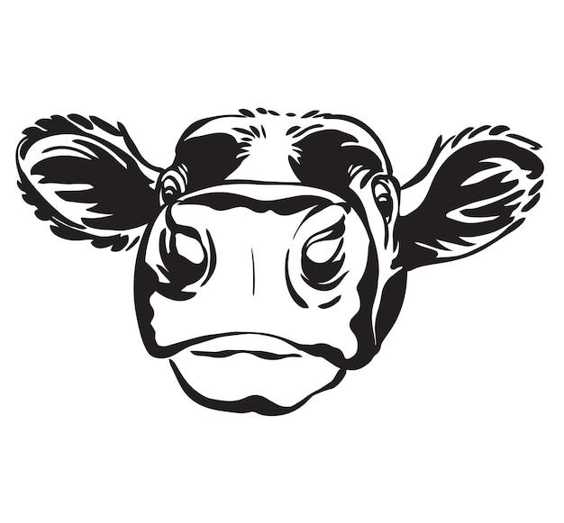 Abstract contour cow vector