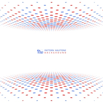 Abstract contrast red blue halftone cover decoration.