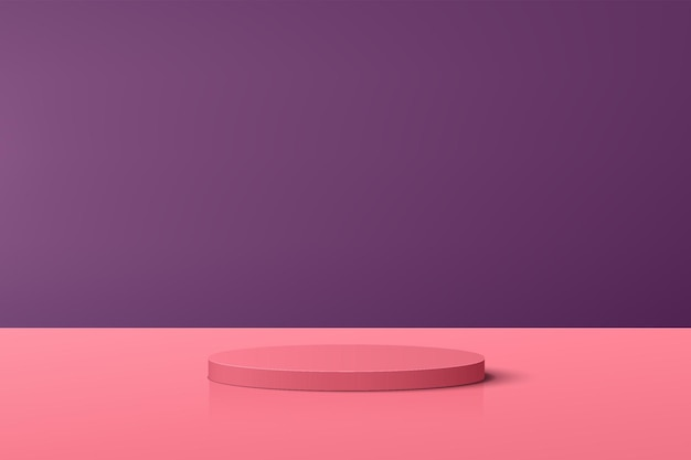 Abstract coral pink 3d cylinder pedestal podium with purple scene for product display presentation