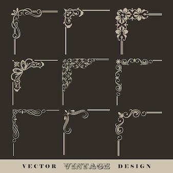 레트로 프레임에 대 한 빈티지 붓글씨 선형 모서리의 추상 코너 패턴 세트