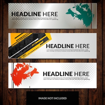 Abstract corporate banner design templates with dotted pattern on grey and white background