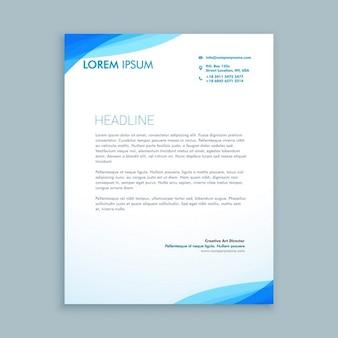 企業の青い波のレターヘッドのデザイン