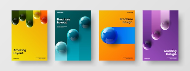 Набор абстрактных корпоративных брошюр a4 дизайн векторных макетов
