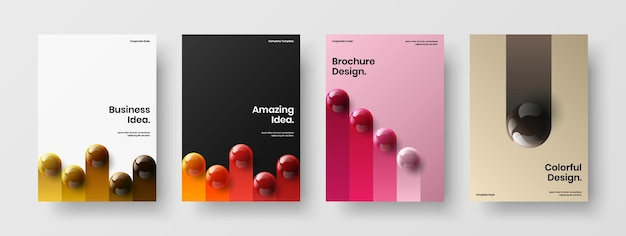 Abstract corporate brochure a4 vector design illustration set