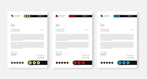抽象的な企業のビジネスレターヘッドデザインテンプレート