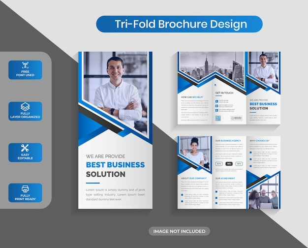 추상 기업 비즈니스 trifold 브로셔 디자인