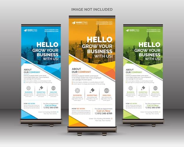 Абстрактный корпоративный шаблон roll up banner standee с креативными многоугольными геометрическими фигурами