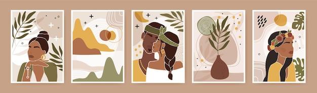 Абстрактный портрет пары современный принт с поцелуями мужского и женского силуэта и листьями цветов