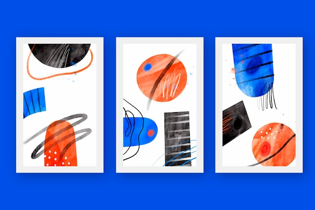 Abstract cover collection in watercolor