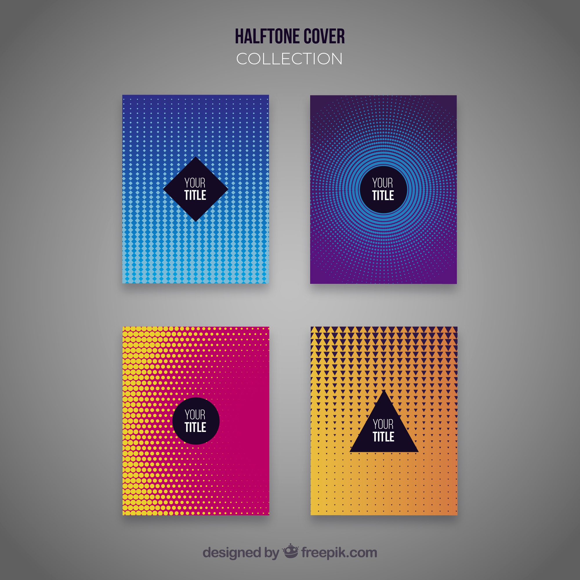 Abstract cover collection with halftone patterns