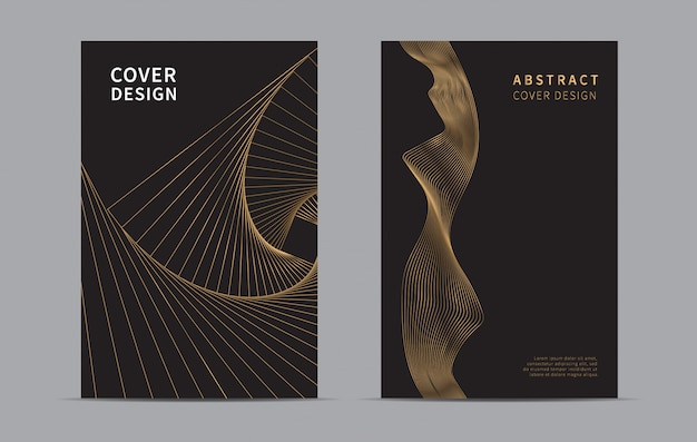 Abstract cover design. golden line wave background.