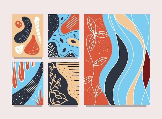 Абстрактная обложка современный цветочный набор