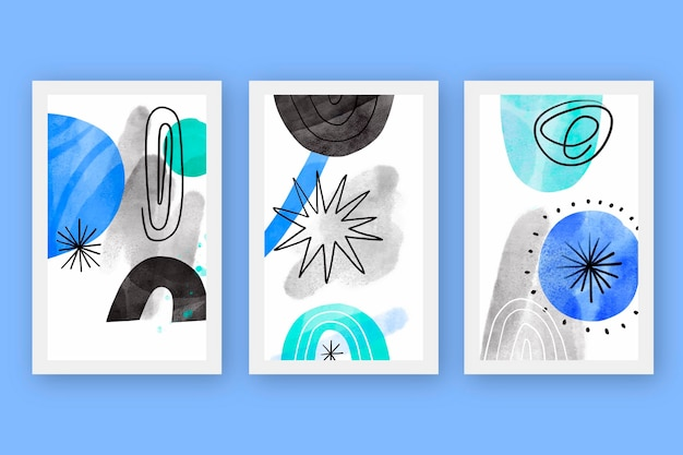 Abstract cover set in watercolor