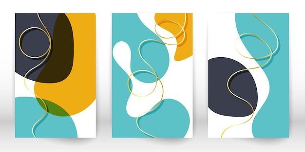 Abstract cover template. set of geometric shapes and lines.