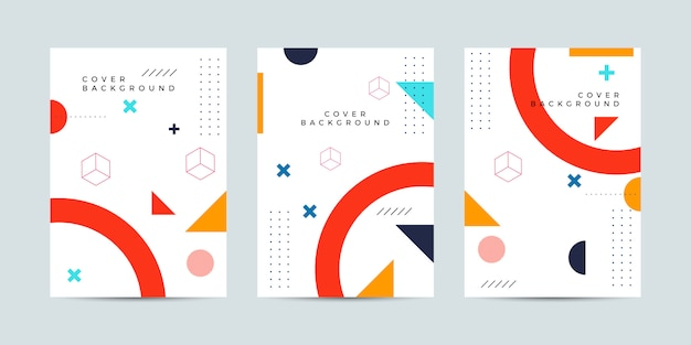 Abstract cover template set in memphis style