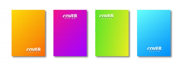 Abstract cover templates set  with wavy patterns. trendy design