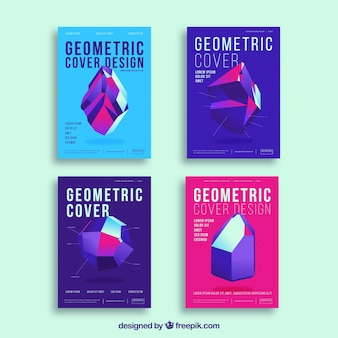 Abstract cover templates with geometric design
