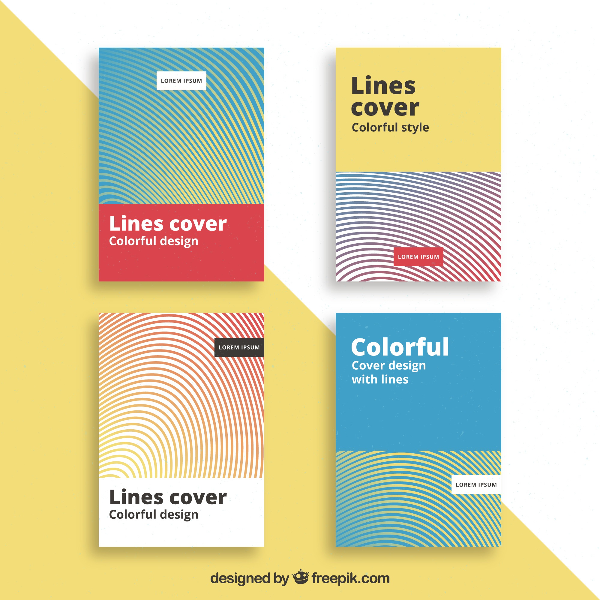 Abstract cover with colorful lines collection