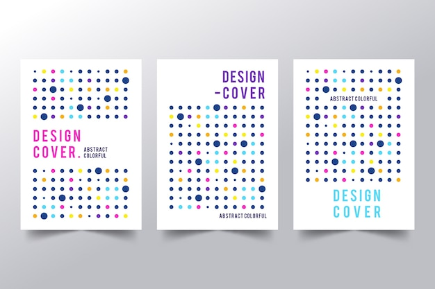 Abstract covers with colorful dots collection
